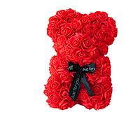 Красивый мишка из латексных 3D роз 25 см с лентой в подарочной коробке | Красный, фото 1