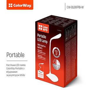Лампа настольная LED Portable & Flexible со встроенным аккумулятором (Белая) ColorWay