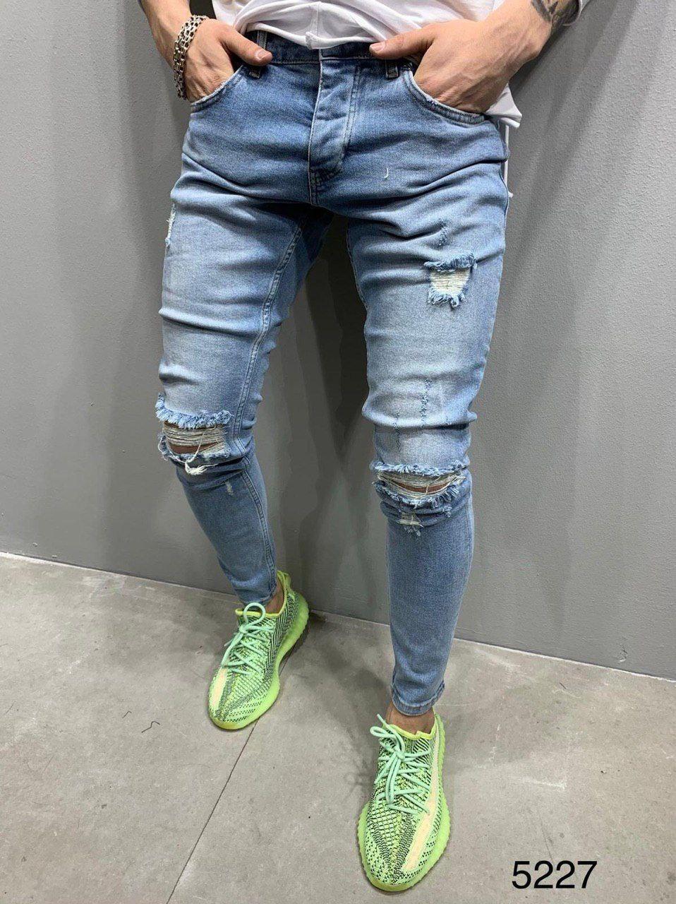 Мужские джинсы рваные голубые 2Y Premium 5227