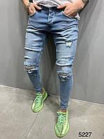 Мужские джинсы рваные голубые 2Y Premium 5227, фото 1