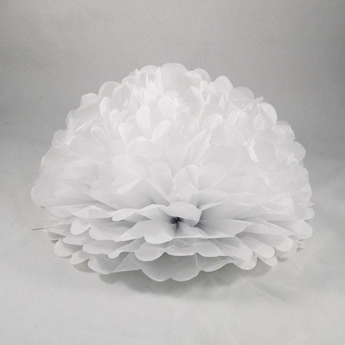 Декор бумажные помпоны (белый) 30 см