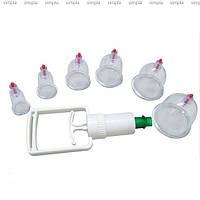 Банки вакуумные массажные антицеллюлитные для здоровья 6 шт с насосом, фото 1