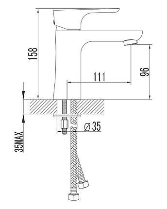 Змішувач для умивальника Imprese Valtice 05320, хром, фото 2