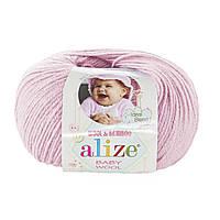 Детская пряжа (40%-шерсть, 20%-бамбук, 40%-акрил, 50 г/175 м) Alize Baby Wool 184(светло-розовый)