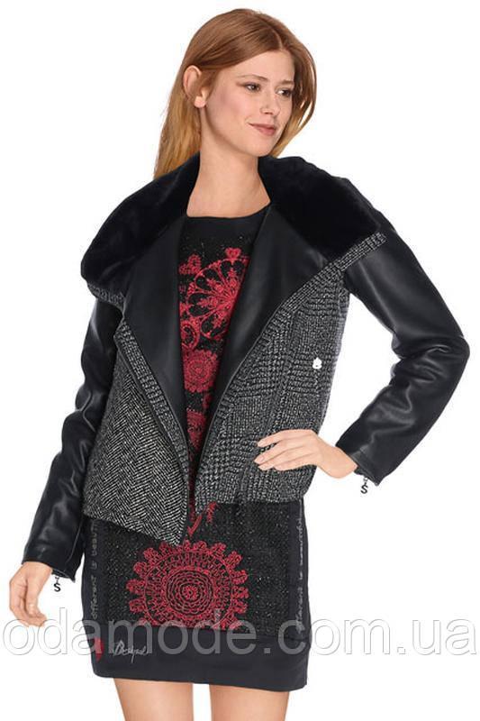 Женская куртка - косуха комбинированная на мехуDesigual