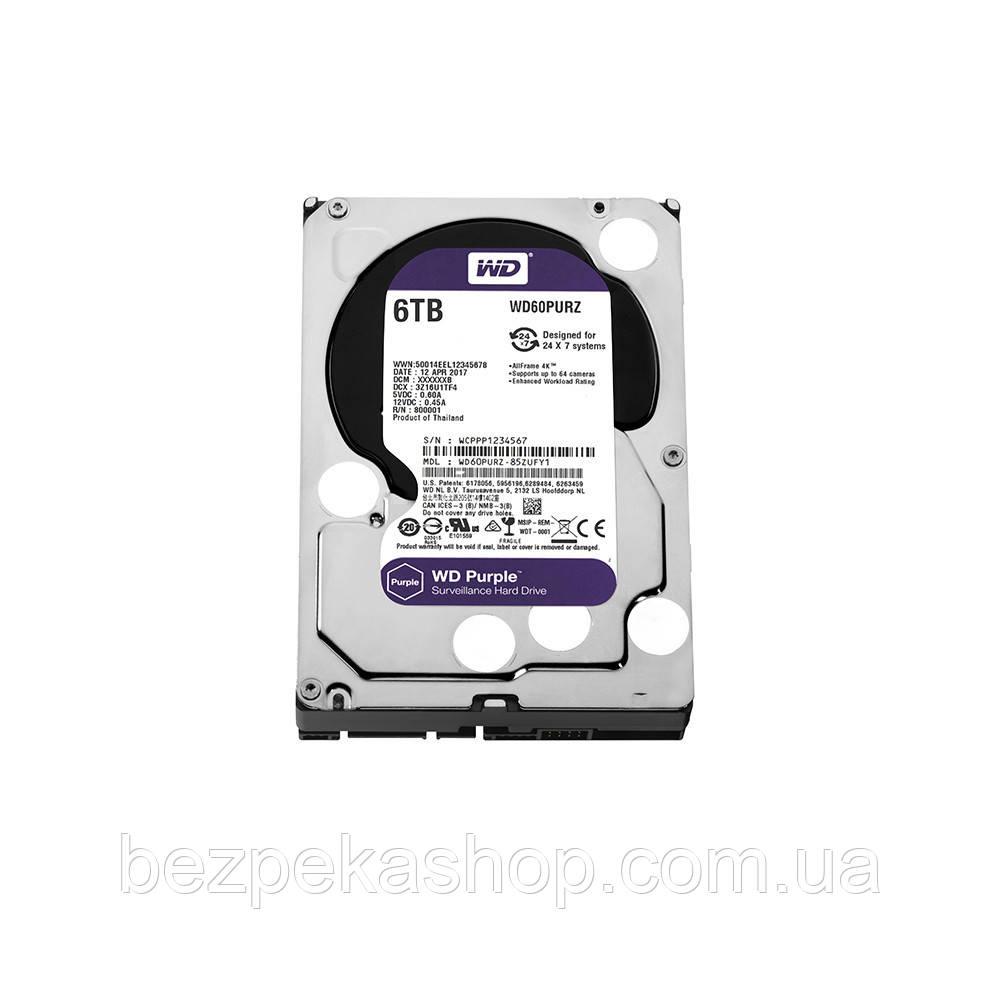 "Жорстку диск HDD WD AV Purple (3.5"" 6TB 64MB 5400 RPM SATA 6 Gb/s) (WD60PURZ)"