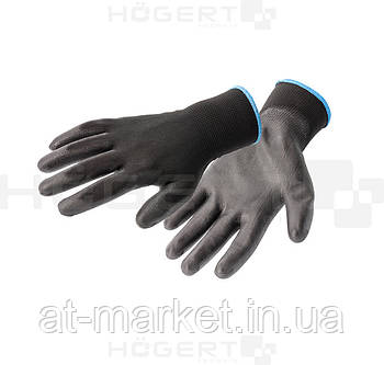 Перчатки рабочие полиуретановые, черные, размер 9 HT5K219-9