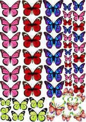 Вафельна картинка для кондитерских виробів, топерів, пряників, капкейків Метелики (листок А4) 2