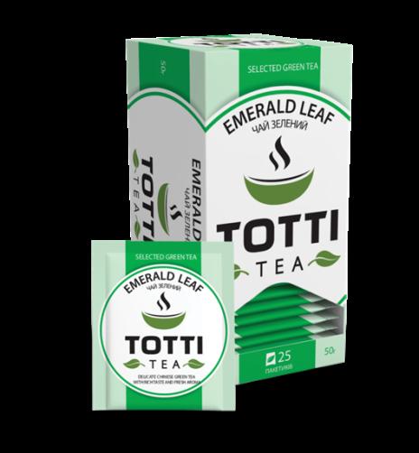 Чай зелений TOTTI Tea «Смарагдовий лист», пакетований, 25 шт по 2г.