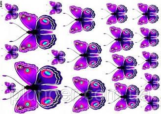 Вафельна картинка для кондитерских виробів, топерів, пряників, капкейків Метелики (листок А4) 4