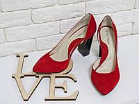 Эксклюзивные замшевые туфли ярко-красного цвета 36 37 38 39 40, фото 1