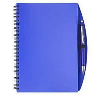 Блокнот А5 с ручкой, белый блок в линейку на пружине, пластик, синий