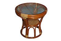 Круглый журнальный стол 0509 коньяк натуральный ротанг + стекло D54*52 см