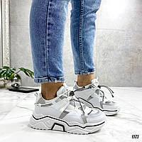 Стильные белые кроссовки на толстой подошве, фото 1