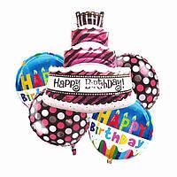 Набор фольгированных шаров День Рождения с тортом 1762