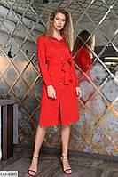 Легкое женское платье-рубашка с поясом размеры 50-56 арт 4128/1
