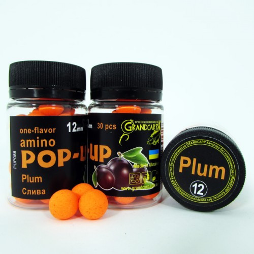 Бойлы amino POP-UP Grandcarp PLUM (СЛИВА) Ø12 мм 30 шт. (PUP088)