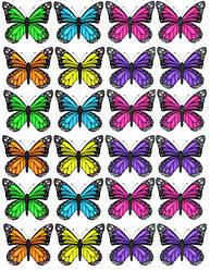 Вафельна картинка для кондитерских виробів, топерів, пряників, капкейків Метелики (листок А4) 17