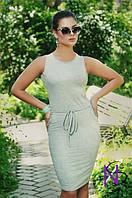 Женское батальное серое платье