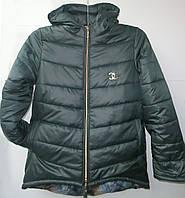 Куртка женская холлофайбер капюшон черная, фото 1