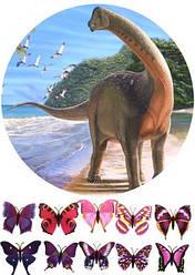 Вафельна картинка для кондитерських виробів Динозаври (аркуш А4) 2