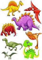 Вафельна картинка для кондитерських виробів Динозаври (аркуш А4) 5