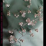 Гілочка віночок з перлами і квітами в зачіску тіара гребінь обідок, під срібло, фото 2