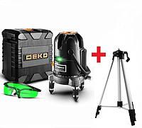 GREEN>>> Лазерный уровень-нивелир DEKO DKLL520G>КЕЙС + ШТАТИВ