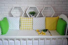 """Детские бортики в кроватку """" Развивающие бортики """"зелено-желтые бортики в кроватку,защита в кроватку"""