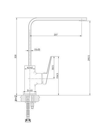 Змішувач для кухні Imprese Elanta 55451, хром, фото 2