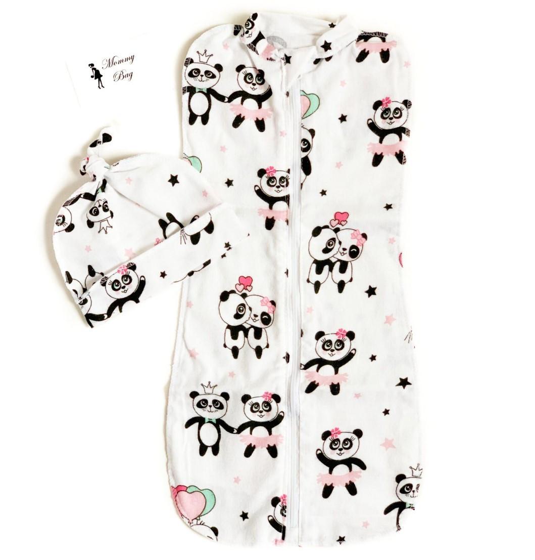 Евро-пеленка кокон на молнии с шапочкой Розовые панды #2