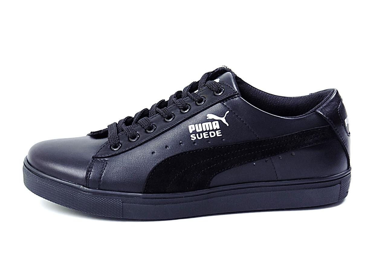 Мужские кожаные кеды Puma SUEDE Black leather .