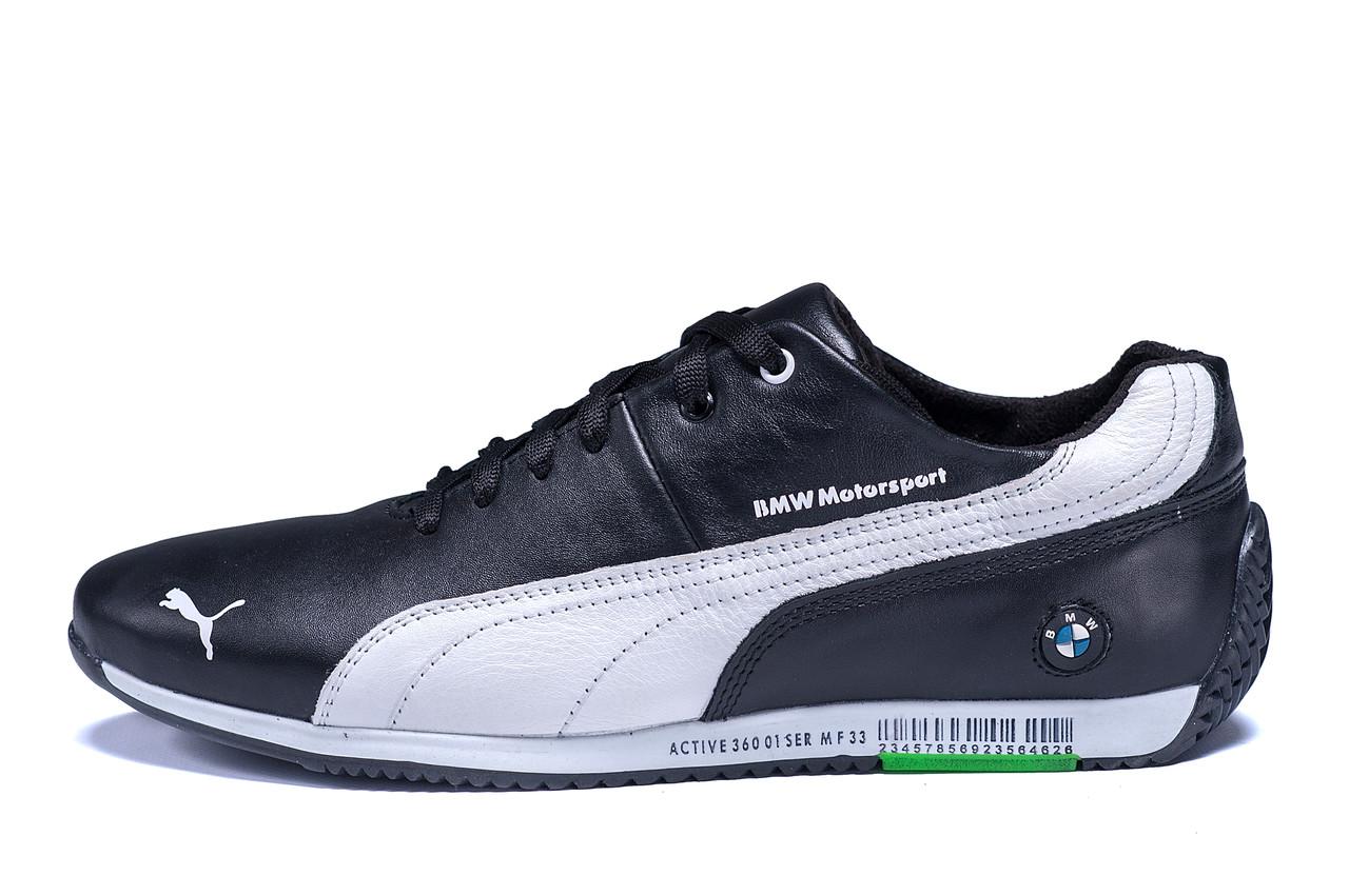 Мужские кожаные кроссовки  Puma BMW MotorSport Black .