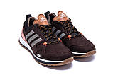 Чоловічі шкіряні кросівки Adidas A19 Brown Star ;, фото 3