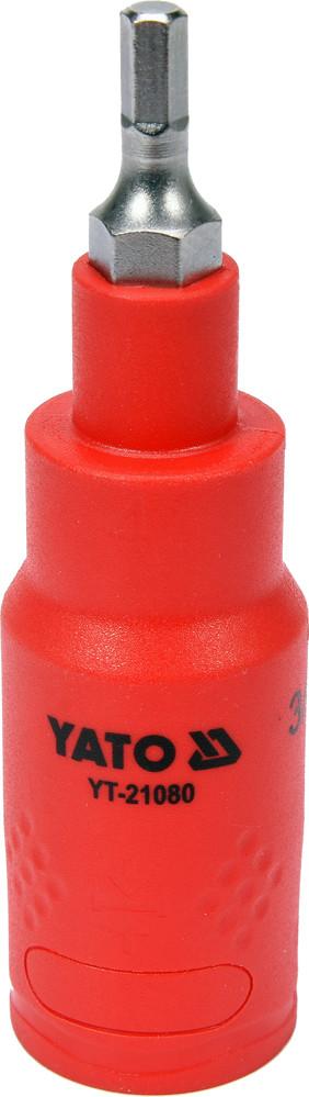 """Головка торцевая диэлектрическая с отверточной насадкой HEX YATO 3/8"""" H4 x 75 мм VDE до 1000 В"""