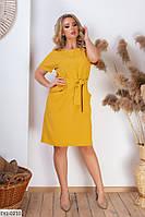 Женское повседневное горчичное платье батал с карманами размеры 50-60