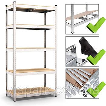 Стеллаж полочный 1800х900х600мм, 150кг, 5 полок с ДСП/МДФ оцинкованный для склада, офиса, гаража