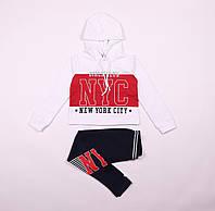 Костюм спортивный для девочки, черные брюки и белая с красным толстовка, Wanex, размер 122 -152 см.