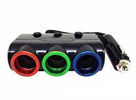 Разветвитель прикуривателя 3 гнезда 1506   универсальная автозарядка-тройник   зарядка USB в машину, фото 1