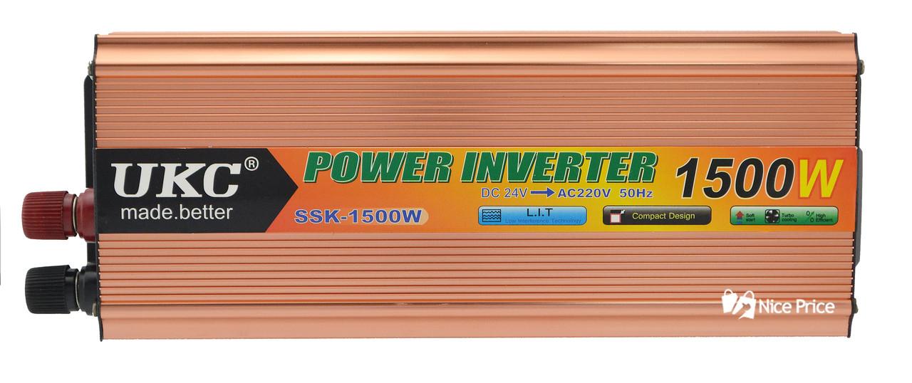 Преобразователь напряжения(инвертор) 24-220V 1500W + USB (4002) #S/O