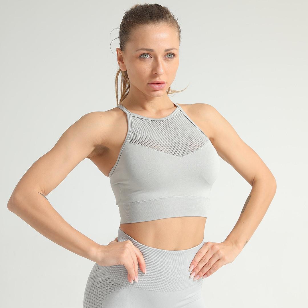 Женский спортивный топ для фитнеса серый 4364
