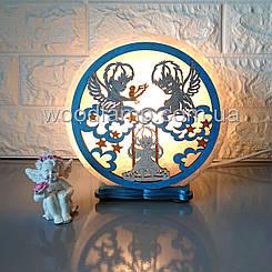 Соляна лампа кругла Янголята кольорова