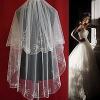 Вау! Удлиненная свадебная Фата вышивка с бисером SF для Невесты Белая/Айвори (sf-196)