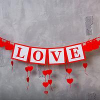 Вау! Декоративная модная Гирлянда LOVE + сердечки, Праздничная