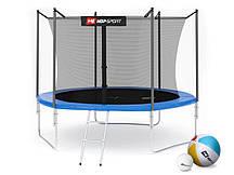 Батут для прыжков с внутренней сеткой 305 см  + мячи в подарок Hop-Sport 10ft синий