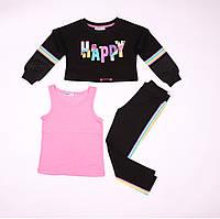 Костюм спортивный для девочки, черные брюки и реглан, розовая майка, Wanex, размер 110-140 см.