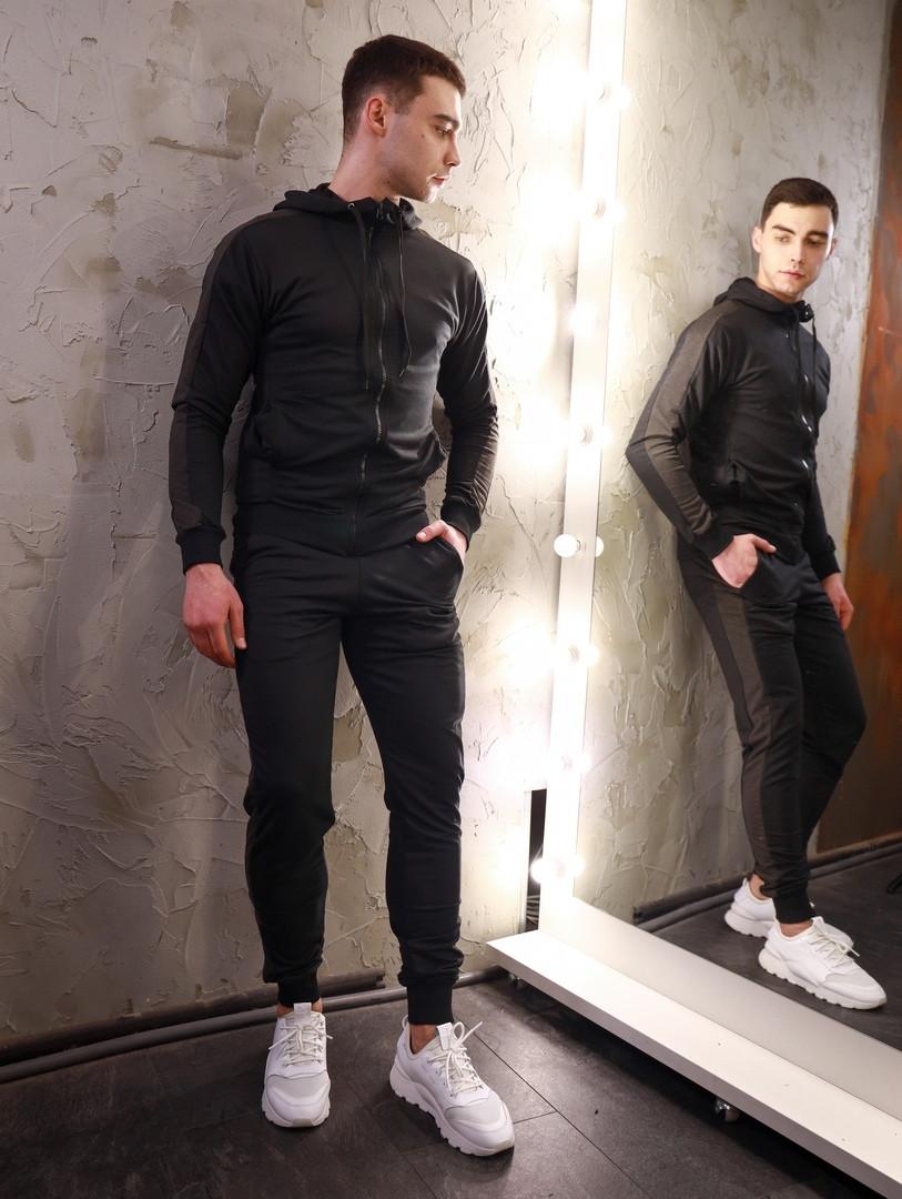 Мужской спортивный костюм  змейка черный