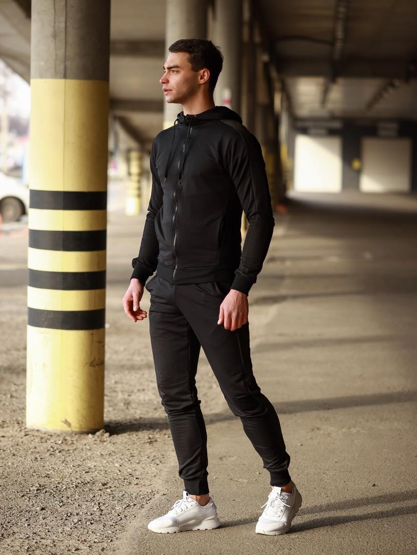 Мужской спортивный костюм Змейка (черный)