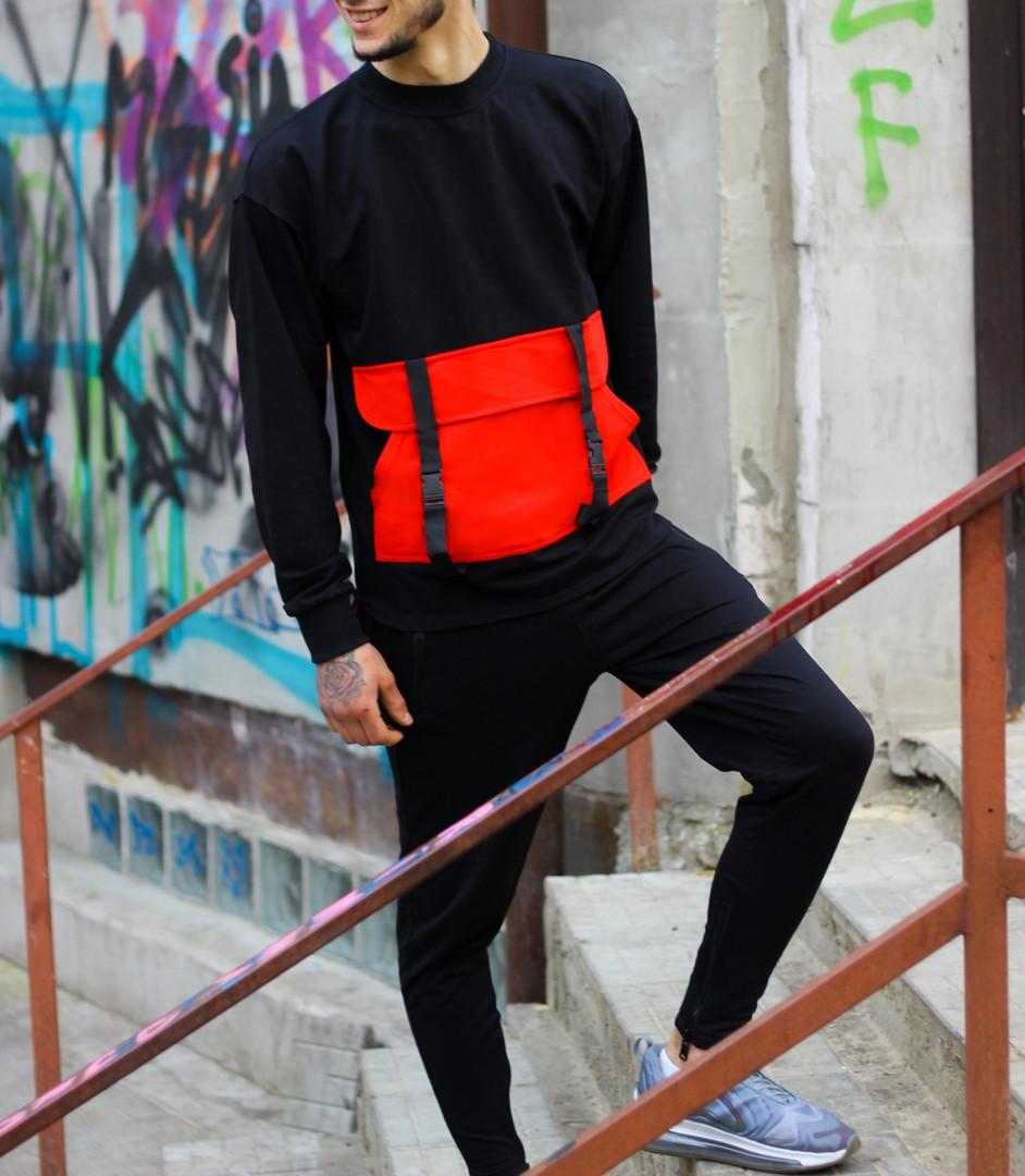 Мужской спортивный костюм Свитшот Стропы + штаны (красный)