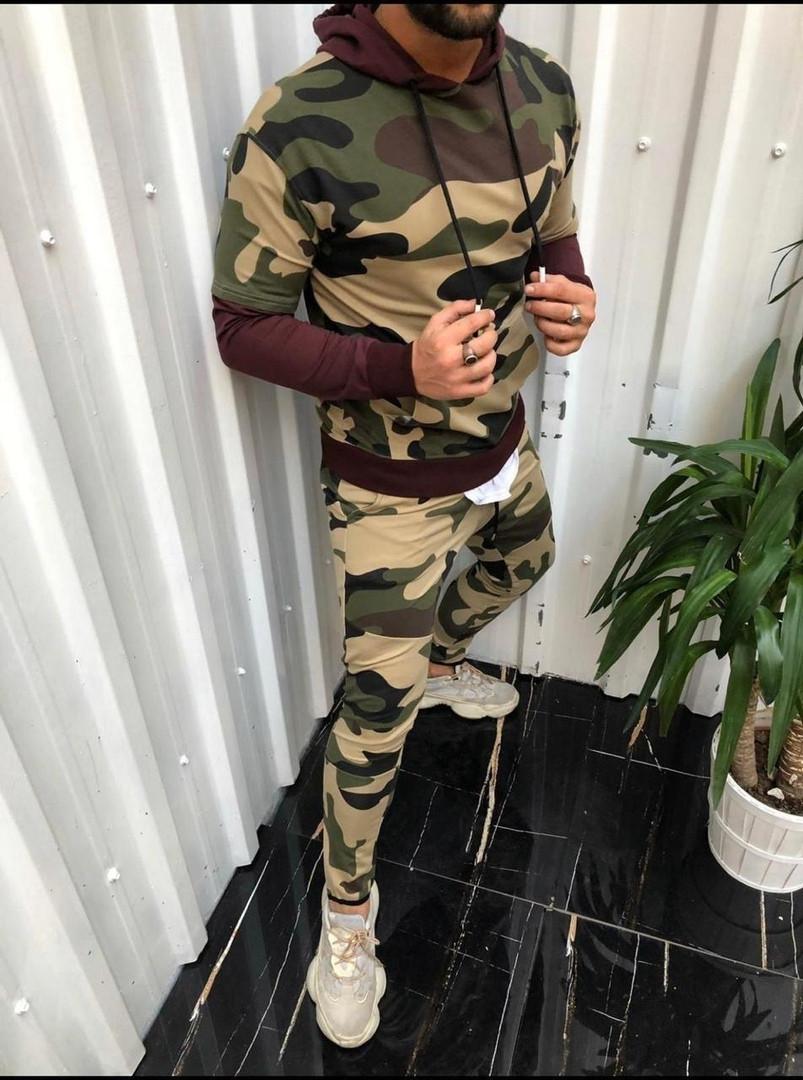Мужской спортивный костюм Милитари (бордовый)